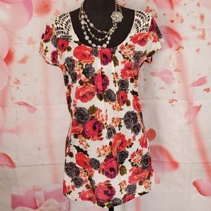 Bongo  Floral Print Tunic With Embroidery Neckline
